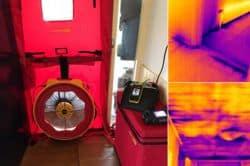 Tijdens een luchtdichtheidstest met een Blowerdoor maken wij met thermografie luchtlekken zichtbaar.